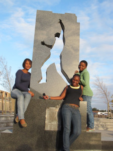 Girls at the Gugulethu 7 Memorial